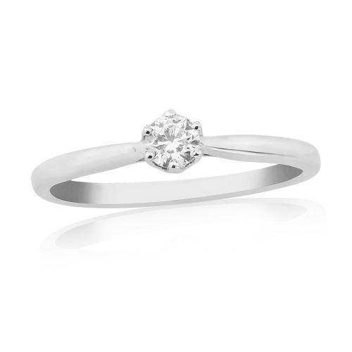 Solitaire Single Stone Six Claw Engagement Ring White Gold 15 Points
